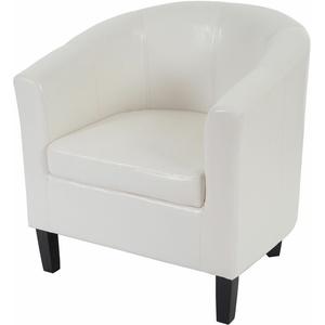 Sessel H379, Loungesessel Clubsessel, Kunstleder weiß