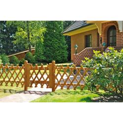 T&J Gartenzaun Jägerzaun Jefferson 1, (Set), 80 cm hoch, 4 Elemente + 1 Tür für 11 Meter Zaun, mit 6 Pfosten