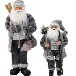 Weihnachtsmann mit Sack GRAU - Nikolaus Dekofigur Weihnachten