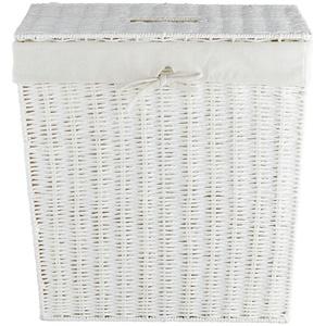 Wäschekorb mit Deckel ¦ weiß ¦ Eisendraht, Baumwolle, Papier, Polyester » Möbel Kraft