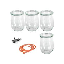 Weck Einmachglas 4er-Set Einweckgläser Tulpenglas-Form 1l, mit