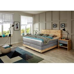 ADA premium Boxspringbett Chalet, TF 170 SL PM, Zirbenholz natur geölt grau 210 cm x 208 cm