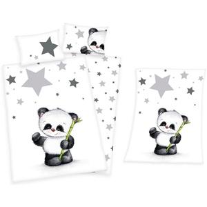 Babybettwäsche Kleiner Panda Bär - Baby-Bettwäsche-Set in Flanell und Mikrofaser-Flauschdecke von Herding, Baby Best, 100% Baumwolle