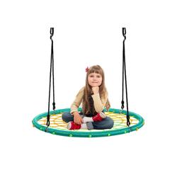 COSTWAY Nestschaukel Spinnennetz Kinderschaukel Rundschaukel Baumschaukel Tellerschaukel Hängeschaukel, Ø100cm, 100-160cm Seil, 150kg Tragkraft grün