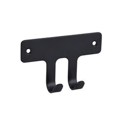 SOSmart24 Handtuchhalter Handtuchhaken Schwarz Matt 2-fach aus Metall - Handtuchhalter Bad und WC