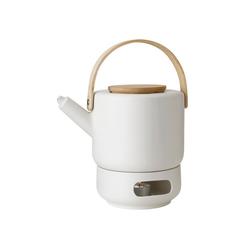Stelton Teekanne Stelton Theo Set Teekanne 1,25 Liter und Stövchen aus Steingut sand / beige