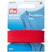 Prym Schrägband Baumwolle, 40/20 mm, 3 m, rot, 100% CO, Falzung
