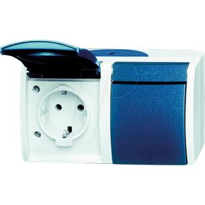 EL BJ FR ST2W - Steckdose, 2-fach, waagerecht, 16A, IP 44, blau / grau