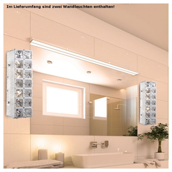 etc-shop Wandstrahler, 2er Set LED 10 Watt Wand Leuchte Beleuchtung Licht Lampe K9 Kristalle klar