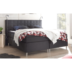 Black Red White Boxspringbett Victoria 3 in schwarz