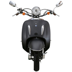 Alpha Motors Motorroller Retro Firenze, 50 ccm, 45 km/h, Euro 4, (mit Topcase), mit Topcase schwarz