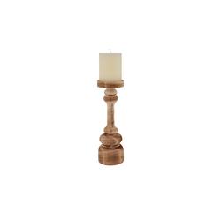 Kerzenhalter mit Stumpenkerze ¦ holzfarben ¦ Holz, Wachs Ø: 8.5