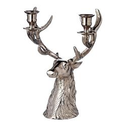 EDZARD Kerzenleuchter Hirschgeweih, Kerzenständer mit Silber-Optik im Hirsch-Design aus Aluminium, Kerzenhalter für 2 Stabkerzen, Höhe 33 cm