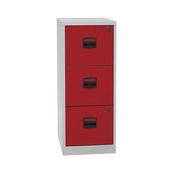 Bisley Home Hängeregisterschrank PFA aus Stahl, ohne Sockel, A4 rot 41.3 cm x 101.5 cm x 40 cm