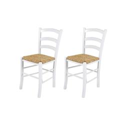 2 Esszimmerstühle aus massiver Buche in weiß mit einer Sitzfläche aus Binsengeflecht, Maße: B/H/T ca. 43/85/47 cm
