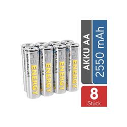 HEITECH AA Akku Mignon 2550 mAh 1,2V NiMH TÜV geprüft 8 Stück - Wiederaufladbare Batterien mit geringer Selbstentladung - Akkus für Geräte mit hohem Stromverbrauch Akku