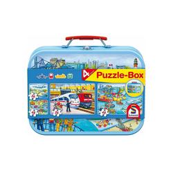 Schmidt Spiele Puzzle Schmidt - Verkehrsmittel Puzzle-Box, 2 x 48 Teile,, 48 Puzzleteile