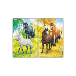 Larsen Puzzle 2er-Set Rahmen-Puzzle, 10 Teile, 28x18 cm, Pferde, Puzzleteile
