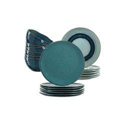 LEONARDO Geschirr-Set MATERA Geschirr Tafelservice blau 18-teilig (18-tlg), Keramik