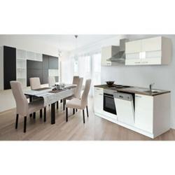 Respekta Küchenzeile KB220WW 220 cm Weiß