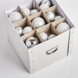 Zeller Weihnachtskugelbox, Aufbewahrungsbox für Weihnachtskugeln aus Pappe, Maße: ca. 30 x 30 x 29 cm, weiß/gold