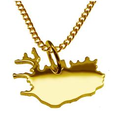 schmuckador Kette mit Anhänger 50cm Halskette + Island Anhänger in 585 Gelbgold