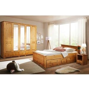 Landhaus Schlafzimmer aus Kiefer Massivholz Stauraumbett (vierteilig)