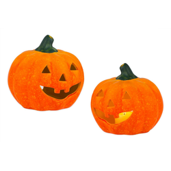 BigDean Windlicht Kürbis groß 13x14 cm Halloween Dekoration Herbstdeko Teelichthalter aus Keramik (2 Stück)