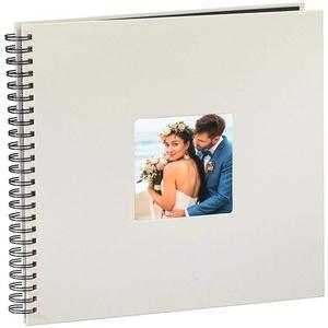 Hama Fotoalbum Jumbo 36x32 cm (Spiral-Album mit 50 schwarzen Seiten, Fotobuch mit Pergamin-Trennblättern, Album zum Einkleben und Selbstgestalten) kreide