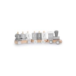 Navaris Spielzeug-Zug, Holz Eisenbahn Holzzug für Kinder - Holzspielzeug mit Buchstaben Zahlen - Baby Spielzeug personalisierbar - Deko Holzeisenbahn - 20 Teile