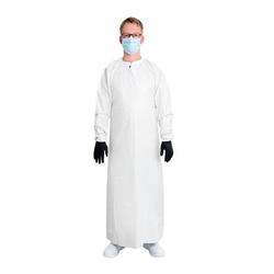 emissimo Mehrweg Schutzkittel MSK135OC, Bindebänder, Gummibündchen, weiß, 90x135 cm (Klinik Var.)