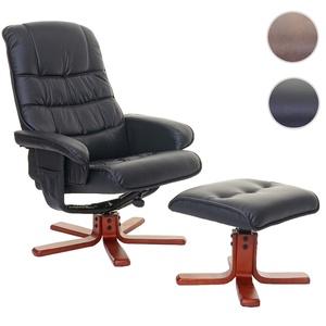 Relaxsessel HWC-E30, Fernsehsessel Liegesessel TV-Sessel mit Hocker ~ Kunstleder schwarz
