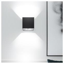 etc-shop Wandleuchte, UP Down Wandleuchte Innen Up and Down Leuchten Innen Wandleuchte Cube, Lichteffekt ALU schwarz, 1x G9, L 10 cm