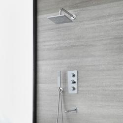 UP Duschsystem für Badewanne mit Thermostat, 20x20cm Wand-Duschkopf, Brause & Wanneneinlauf, Chrom - Arcadia