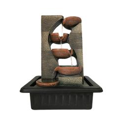 Dehner Zimmerbrunnen Steinkrüge mit LED, 40 x 23 x 31 cm, Polyresin, 31 cm Breite