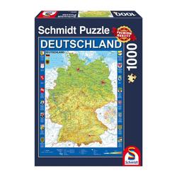 Schmidt Spiele Puzzle Landkarte Deutschlandkarte, 1000 Puzzleteile