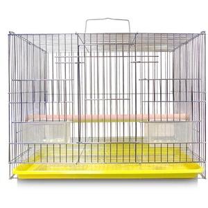 ZZZM Vogelkäfig, groß, aus Metall, tragbar, für Papageien, Reisen, Transportkäfig, Vogelkäfig, mit Zuchtschalen und Sitzstange, für Urlaub oder Wochenende