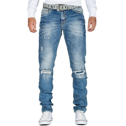 Cipo & Baxx Destroyed-Jeans Cipo & Baxx Herren Jeans Hose BA-CD428 slim fit mit Desttoyed-Effekten und verstärkten Knielöchern blau 32