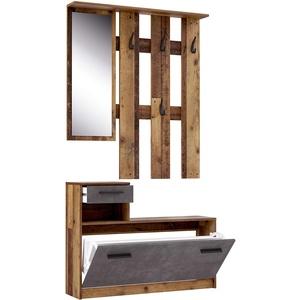 FORTE Foxi Kompaktgarderobe inklusive Spiegel, Holzwerkstoff, Old Wood Vintage Dekor, 97.5 x 25 x 180 cm