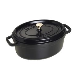 Staub Schmortopf Cocotte in schwarz oval, 29 cm