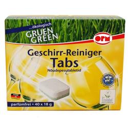 OPM Green Geschirr-Reiniger Tabs, Geschirrspültabs, phosphatfrei, in Standard-Folie, 1 Packung = 40 Tabs à 18g