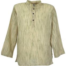 Guru-Shop Hemd & Shirt Indisches Hemd, kurze Kadhi Kurta, indisches.. natur XL