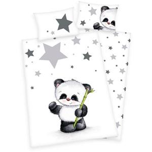 Babybettwäsche Kleiner Panda Bär - Baby-Bettwäsche-Set von Herding in Flanell, 100x135 & 40x60 cm, Baby Best, 100% Baumwolle