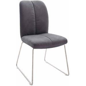 Stuhl in Grau Kunstleder Edelstahl (2er Set)