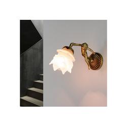 Licht-Erlebnisse Wandleuchte PUTTI Wandleuchte Messing Glas floral dekotativ Premium Jugendstil Lampe