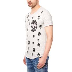 CARISMA Shirttop CARISMA Skull Shirt Herren T-Shirt Grau Slim Fit Rundhals M