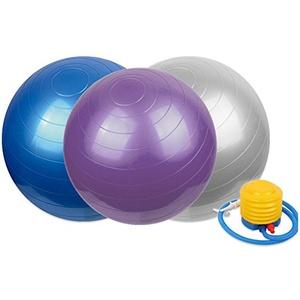 mixed24 Gymnastikball inkl. Pumpe für Fitness Yoga Pilates Gymnastik Sitzball Stuhlersatz Blau/Grau/Lila 65cm/75cm/85cm (Blau, 75cm)
