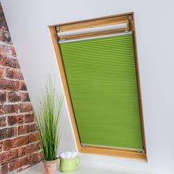 Liedeco Dachfensterplissee Universal Dachfenster-Plissee, Fixmaß grün Plissees ohne Bohren Rollos Jalousien