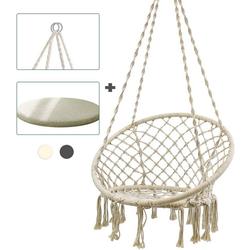 ISE Hängesessel ISE Hängesessel Hängesessel Hängesessel Hängematte, Relax-Design, aus Baumwolle mit bequemen Kissen, 1-Sitzer, innen und außen, 150 kg Tragkraft, Beige