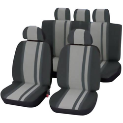 Unitec 84957 Newline Sitzbezug 14teilig Polyester Schwarz, Grau Fahrersitz, Beifahrersitz, Rücksitz